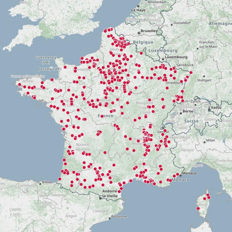 Carte des sites industriels classés Seveso En France